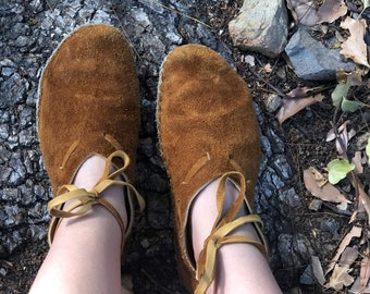 Forest Moccasins / Elk and Buffalo Leather Moccasins / Minimalist Grounding Shoes / Slippers / Handmade Earthing Moccasins