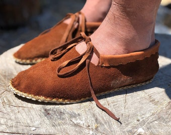 Wood Moccasins / Elk and Buffalo Leather Moccasins / Minimalist Grounding Shoes / Slippers / Handmade Earthing Moccasins