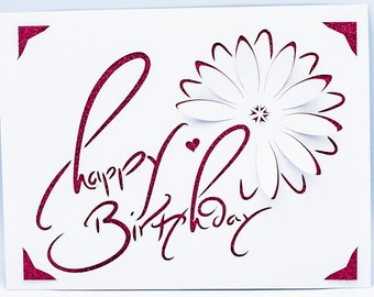 Birthday Card SVG, Happy Birthday, Pop Up Daisy, Calligraphy, Cut File for Cricut Joy, Silhouette