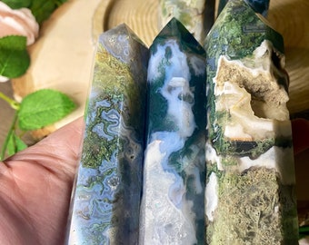 Moss Agate Towers | Healing crystals for Meditation | Reiki | Witchy Decor | Spiritual Home Decor | Birthday gifts for Women