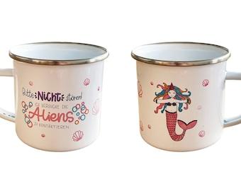 Enamel cups with unicorn print