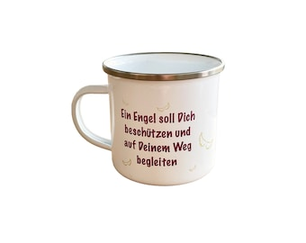 Enamel cups with saying
