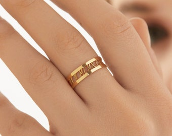 Personalised subtle birthdate Comfort Fit children womans Hand Stamped Roman Numerals Stainless Steel Ring wedding jewellery mens