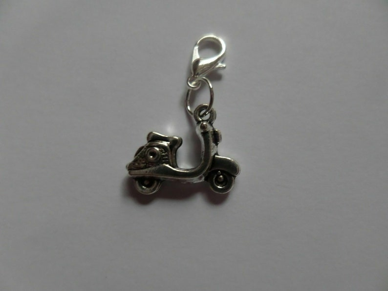 vespa scooter moped clip on charm silver plated lobster clasp 14mm charm bracelet necklace bag charm zipper pull handmade organza gift bag