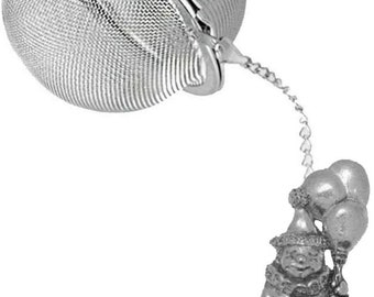 Pewter Clown  on a Tea Leaf Infuser Stainless Steel Sphere Strainer perfect for spices tea cup mug teapot gift ref ppg10