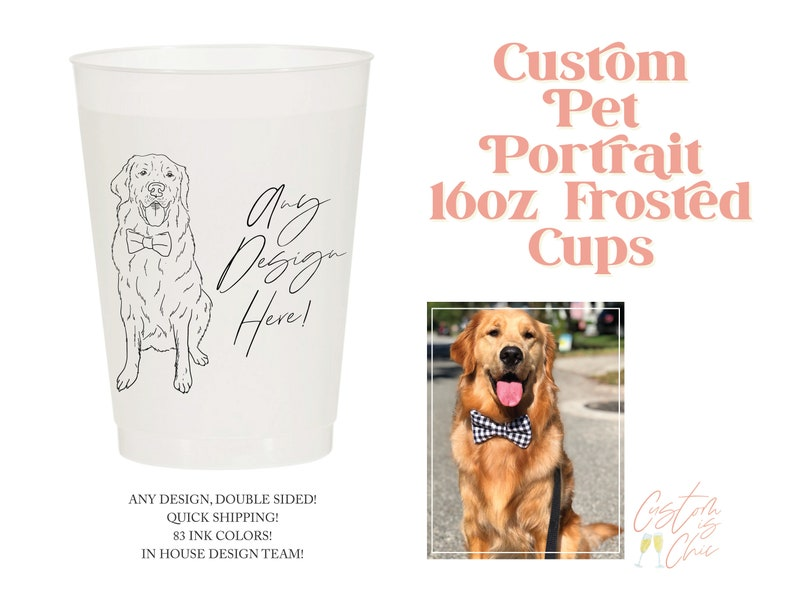 Rehearsal Dinner Cups Reusable Party Cup 16oz Dog Drawing Frosted Cups Cups For Weddings Custom Pet Frosted Cups