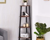 4 tier Corner ladder shelf, Wooden Flower Shelf, industrial shelf, Shelf Stand Display, Rustic shelf, corner plant stand, corner shelf unit