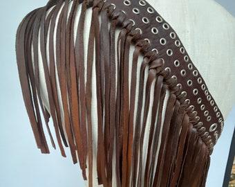 """Leather tassel fringe brown adjustable guitar strap with eyelets . Adjustable between 61-50 """" shorter or longer on request."""