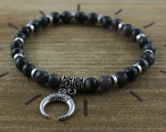 Men's bracelet in labradorite 6 mm and double horn - Jewelry natural stones