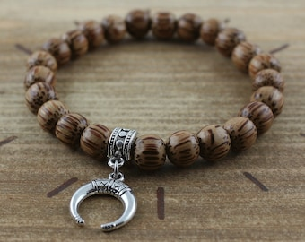 Bracelet pearls coconut wood and crescent moon