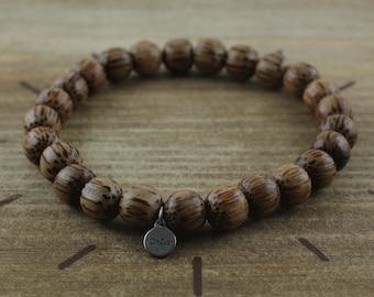 Coconut Wood Bracelet - Natural Pearls