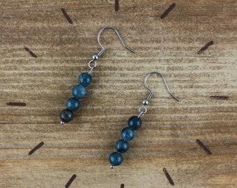 Apatite earrings, silver stainless steel