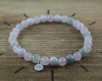 Rose quartz and aquamarine bracelet 6 mm - Natural stone jewelry
