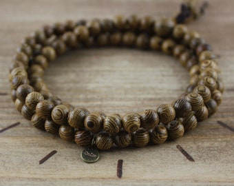 Bracelet in wenge wood beads 6 mm - Mala Tibetan - Meditation