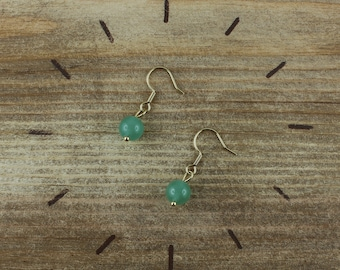 Earrings aventurine and gold stainless steel