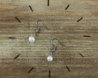 Earrings freshwater pearl and silver stainless steel