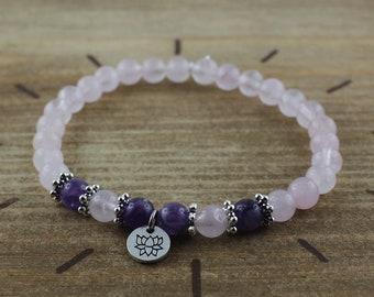 Rose quartz bracelet, amethyst 6 mm and lotus flower - Natural stone jewelry