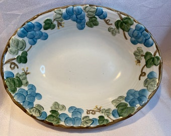 Metlox Pottery Poppytrail Sculpted Grape Serving Bowl  Ceramic Vegetable Bowl  Vintage Mid Century White and Light Blue Fruit Bowl