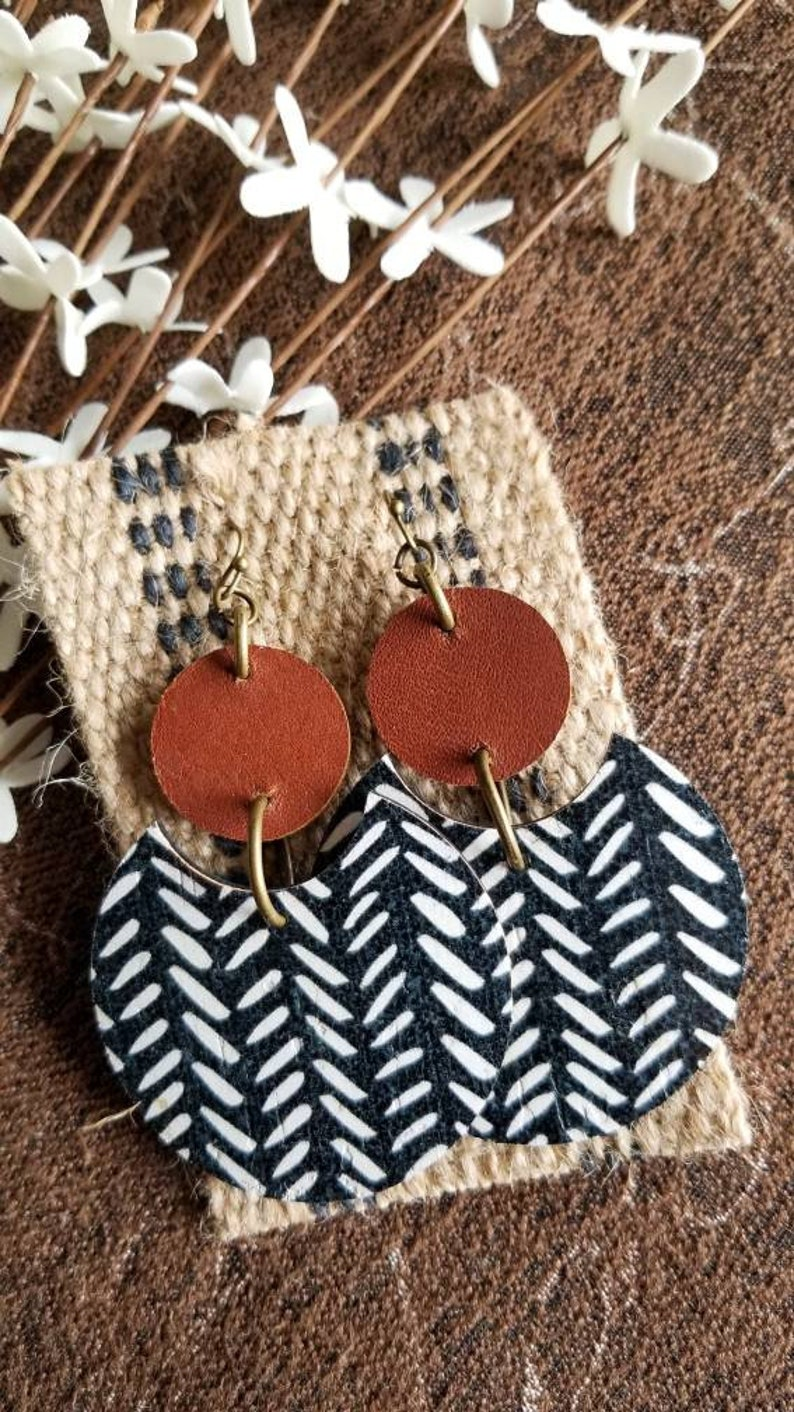 broken chevron cork-leather earrings cognac brown leather earrings MARGARITA Style