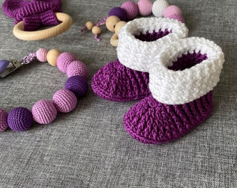 Newborn Cute Crochet Baby Boots 100% Cotton l Pattern l PDF with HD video instruction l Purple baby booties