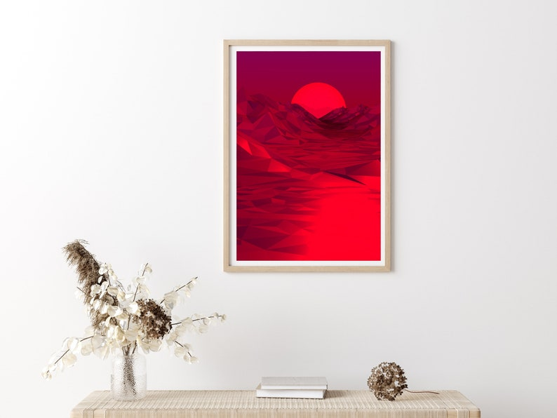 Red Moon Instant Download Art Digital Print Red Red Decor Wall photo collage Printable Wall Art Drawing Aesthetic Art