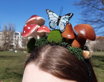 Woodland Mushroom and Butterfly Headband