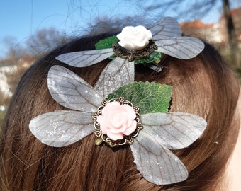 Fairy Wing and Rose Hairclips