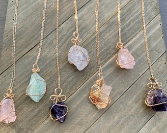 Raw Healing Crystal Wire Wrapped Necklaces, Gemstone Necklace, Crystal Statement Necklace, Wire- Wrapped Crystal Jewelry, Gift for Women