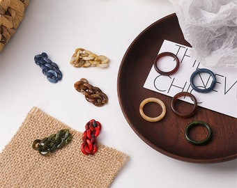 Trendy 2 pc Resin Ring Set - Chain & Band