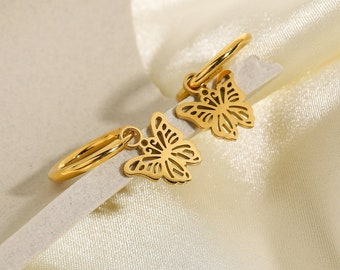 Gold Butterfly Huggie Earrings