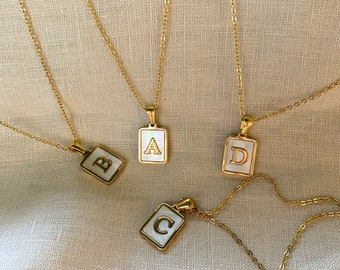 Initial Gold Necklace with Mother of Pearl Charm