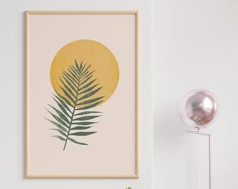 Boho art, Mid century art, Downloadable print, Modern printable art, Leave poster, Nordic art, Lines art, Wall art, Beige art, Vegetable Art