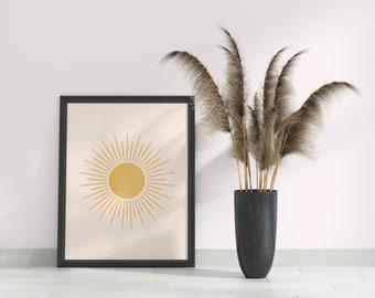 Boho art, Mid century art, Downloadable print, Modern printable art, Sun poster, Nordic art, Lines art, Wall art, Sun Picture, Yellow sun