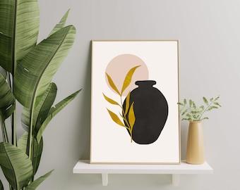 Boho art, Mid century art, Downloadable print, Modern printable art, Leave poster, Nordic art, Lines art, Wall art, Black Art, Vegetable Art