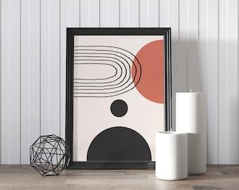 Circle art, Boho art, Mid century art, Downloadable print, Modern printable art, Minimal poster, Nordic art, Lines art, Wall art, Beige art