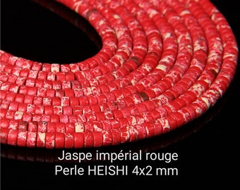 Heishi beads in natural red imperial jasper of 4x2 mm, Quality AA+