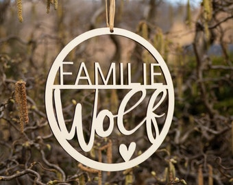 Wood sign ring personalized   Individual door sign   Wooden sign with name   Name plate with heart   Family name plate entrance door