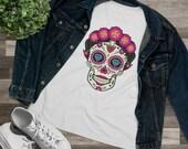 Sugar Skull With Flowers Tee Shirt