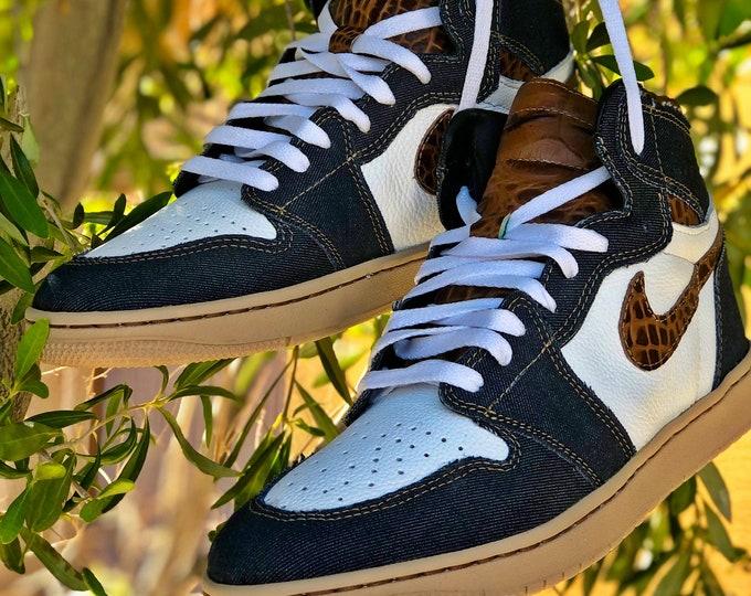 "Authentic Nike Air Jordan 1 Customs ""The Denim Project"" Part 2: Coffee-N-Coke US mens sizes 7-13"