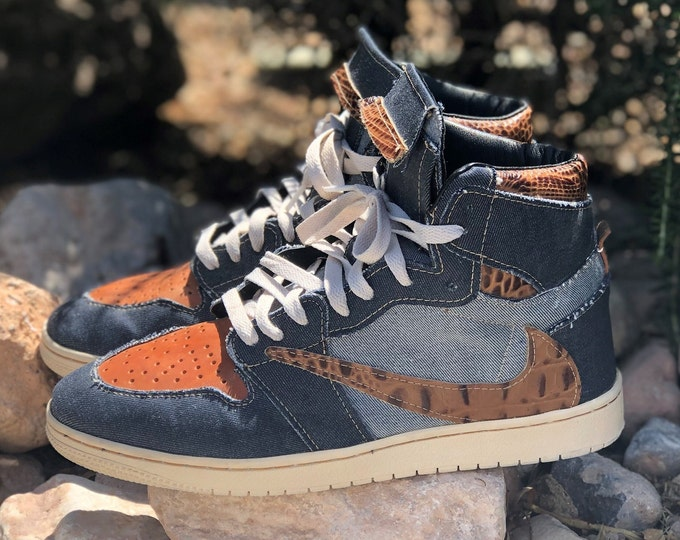 "Authentic Nike Air Jordan 1 Customs ""The Denim Project"" Part 1: Coffee-N-Cream US mens sizes 7-13"