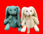 Knitted Rabbit Toy, Craft Stuffed Bunny Dolls, Crochet plush rabbits in all colors, Amigurumi handcrafted knitted bunny doll