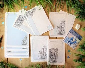 Boxed Elephant Stationery Set, Writing Set, Pen Pal Letterbox Gift.