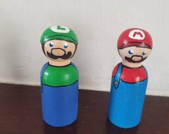 Cute, Geeky Fun, Handpainted Wooden Mario and Luigi Peg Dolls, 6.5 cm, Video Game, Nintendo, Smash Bros - made to order