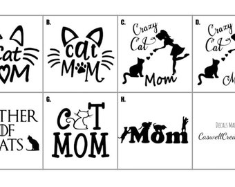 Cat Mom Decal, Mother of Cats, Crazy Cat Lady, Vinyl Decal, Car Decal, Laptop Sticker, Stocking Stuffer, Holiday Gift, Secret Santa