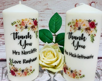 Personalised Thank You Teacher Pillar Candle Gift