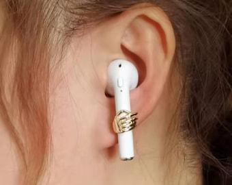 925 Silver Needle Palm Pattern Wireless Earrings Anti-lost Earrings/Wireless AirPods Anti-lost Earrings/AirPods Anti-lost Chain