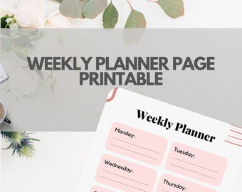 Weekly Planner Page, Printable Weekly Plan, Weekly Planner, Weekly Planner PDF, Printable Planner, Weekly Goal Tracker, Instant Download