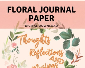 Floral Printable Letter Paper, Floral Journal Page, Flower Stationery, Digital Writing Sheet, Blank Letter Note 8.5 x 11, Instant Download