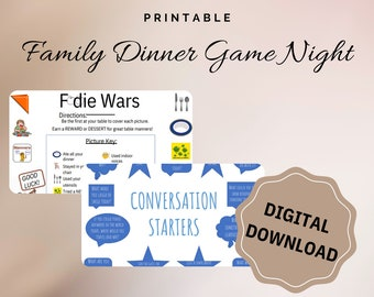 Family Game Night, Family Conversation Cards, Table Manners Game, Dinner Games, Dinner Discussion, Discussion Cards, Instant Printable, Game