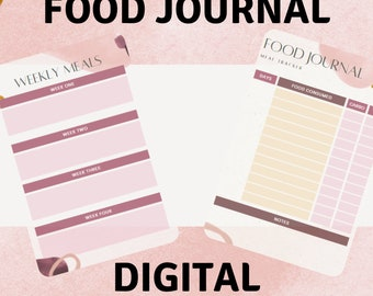 Meal Planner, Meal Tracker, Food Journal, Grocery List, Weekly Meal Planner, Daily Meal Planner, Food Diary, Printable Meal Planner, Journal